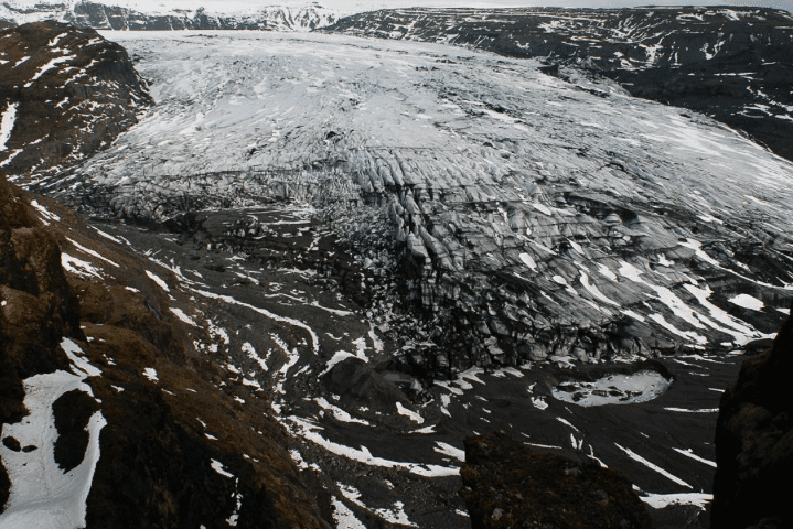 Ein Gletscher im Süden Islands im Rückzug