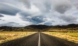 Einsame Strasse im Süden Islands
