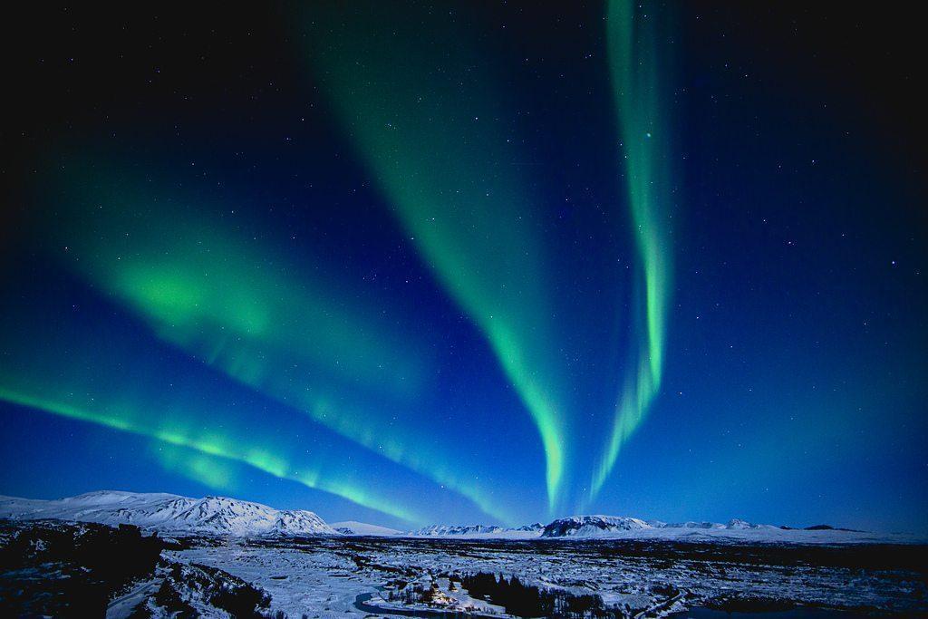 Polarlicht in Þingvellir