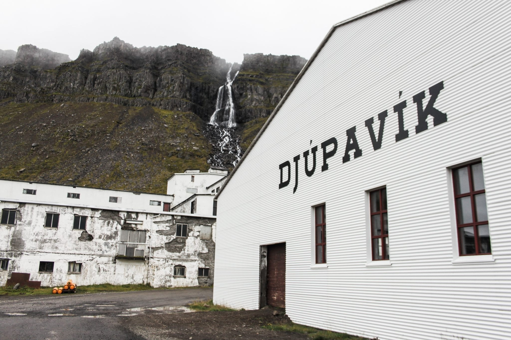 Begegnung von Natur und Beton - nirgendwo so anschaulich wie in Djúpavík.
