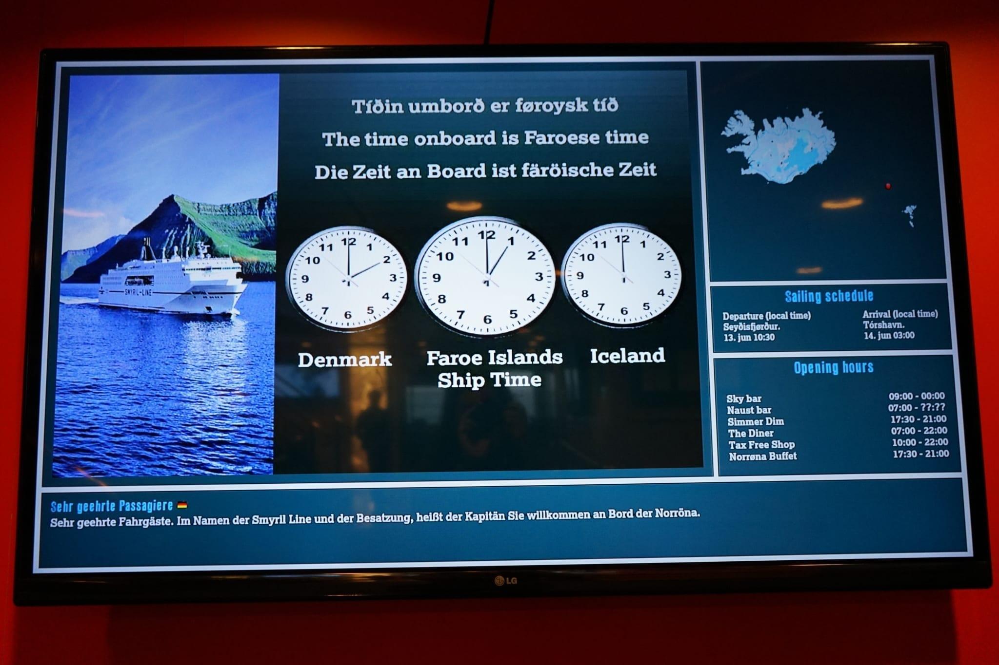 Ship Time an Bord der Norröna